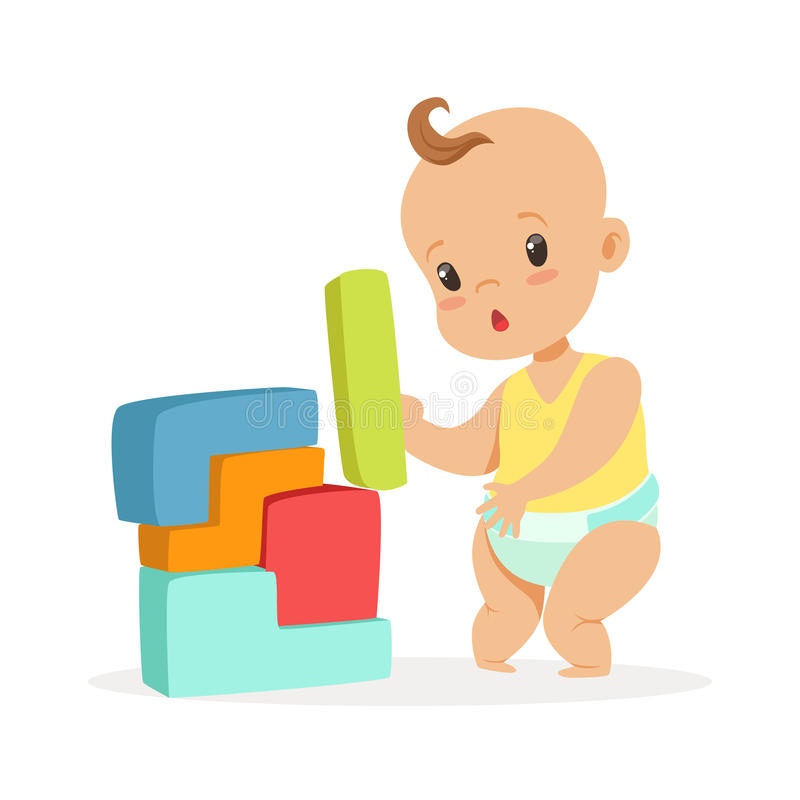 Cute baby standing and playing with toy blocks, colorful cartoon character vector Illustration. Isolated on a white background vector illustration