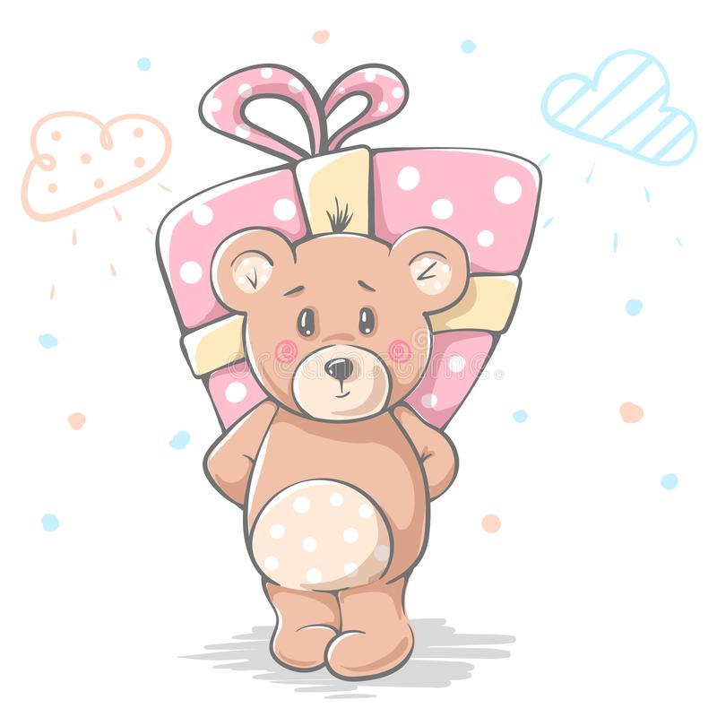 Cute baby teddy cartoon character for print t-shirt. stock illustration