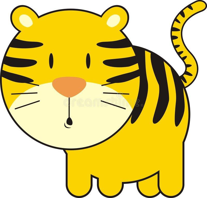Cute baby tiger. Isolated baby tiger, individual objects very easy to edit royalty free illustration