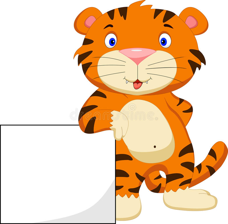 Cute baby tiger cartoon with blank sign. Illustration of cute baby tiger cartoon with blank sign royalty free illustration