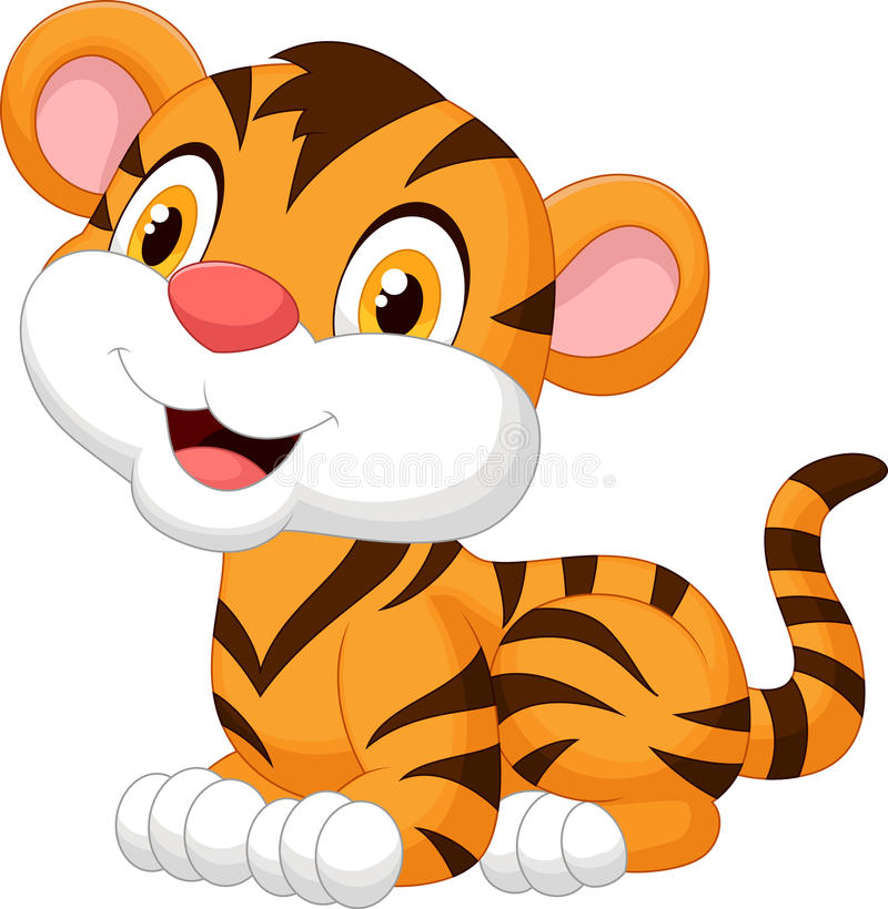 Cute baby tiger cartoon vector illustration