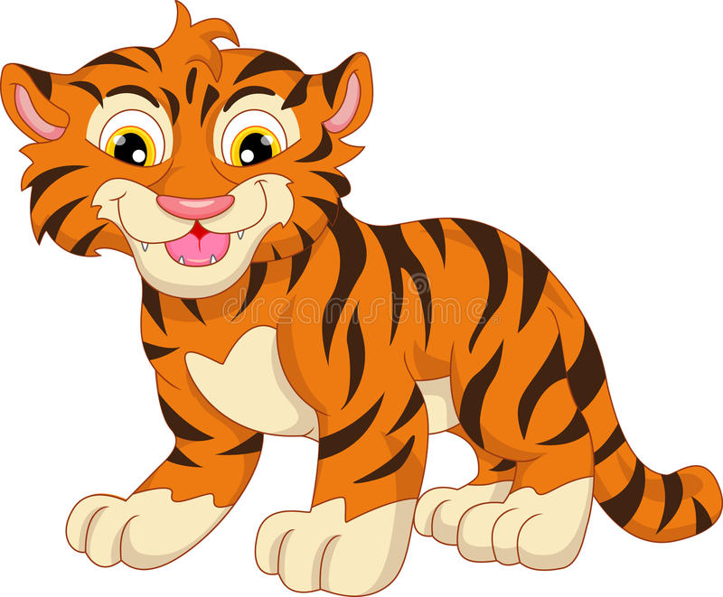 Cute baby tiger cartoon. Illustration of cute baby tiger cartoon stock illustration
