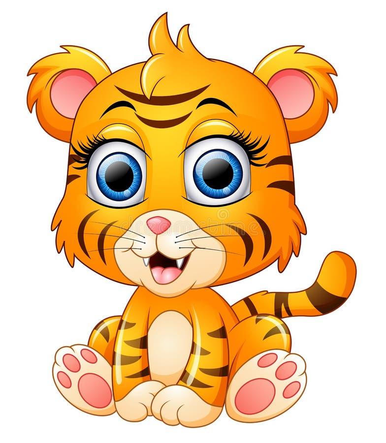 Cute baby tiger cartoon. Illustration of Cute baby tiger cartoon royalty free illustration