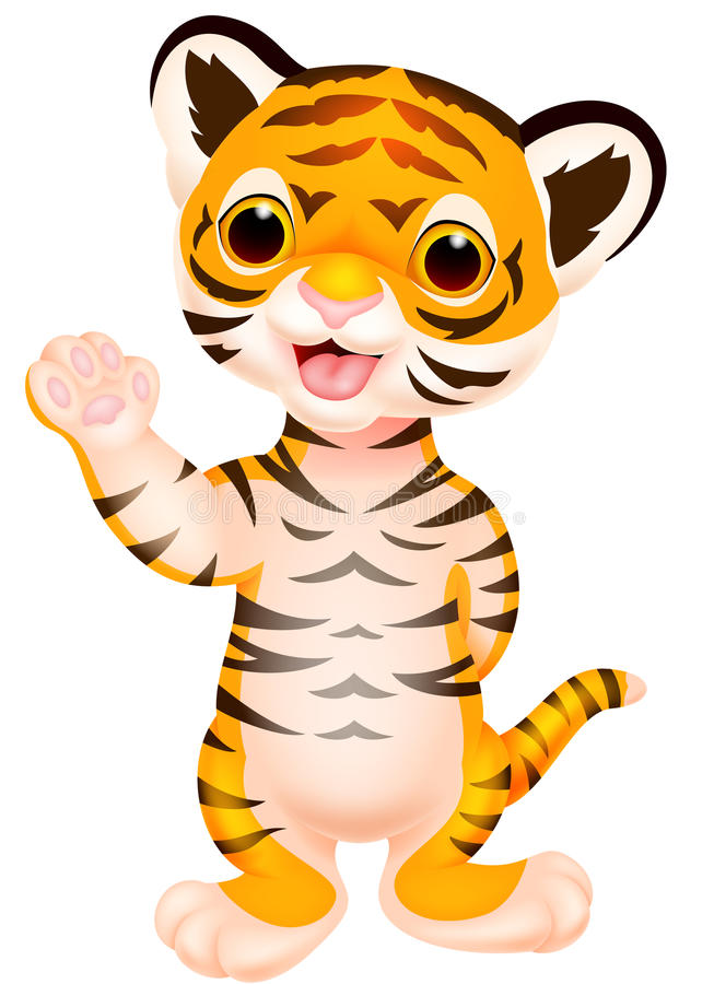 Vector - Illustration Stock  Baby Cute Waving Tiger Cartoon