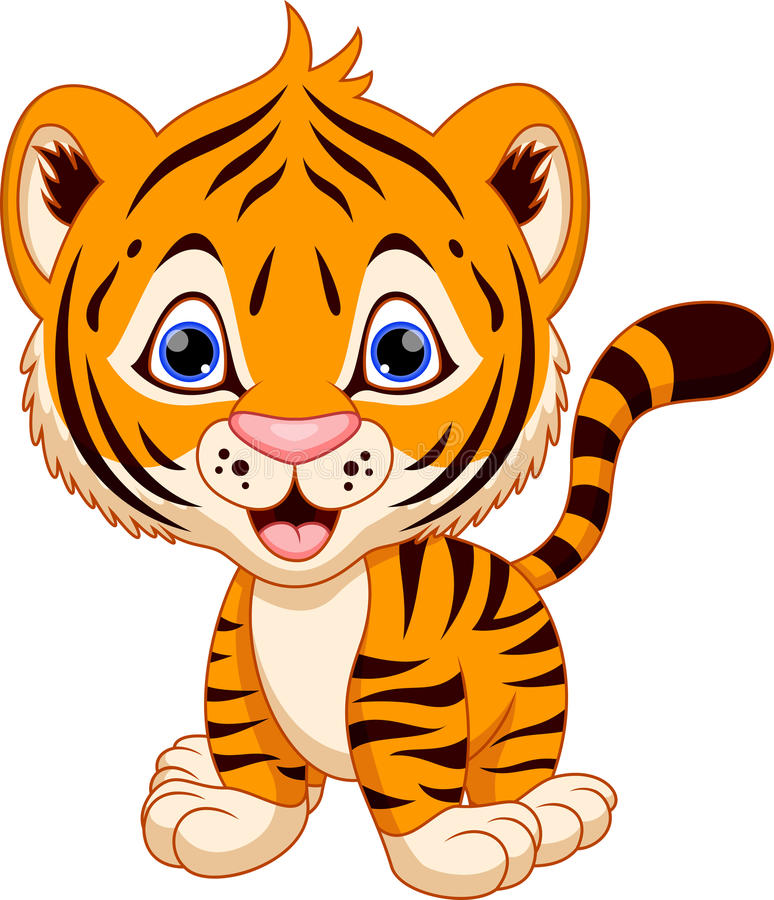 Cute baby tiger cartoon. On a white background vector illustration