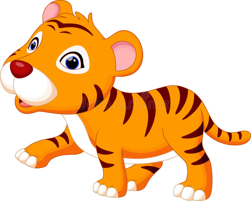 Cute baby tiger cartoon. With white background royalty free illustration