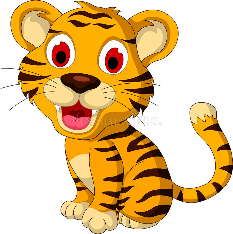 Cute baby tiger posing. Illustration of cute baby tiger posing stock illustration