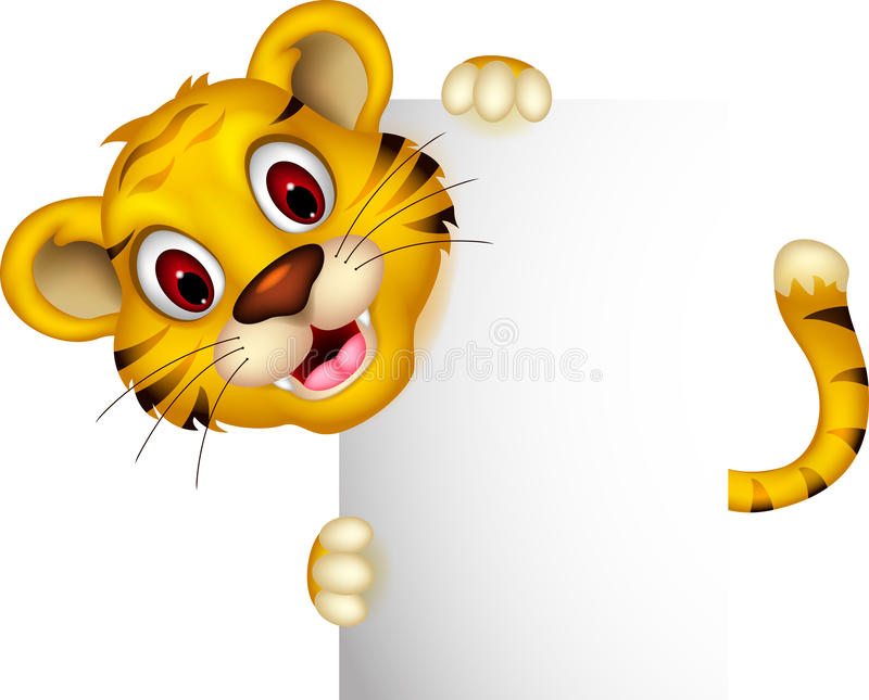 Cute baby tiger posing with sign. Illustration of cute baby tiger posing with sign vector illustration