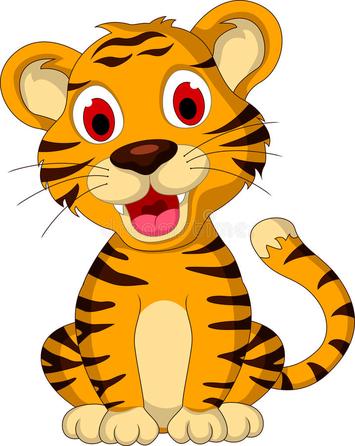 Cute baby tiger sitting vector illustration