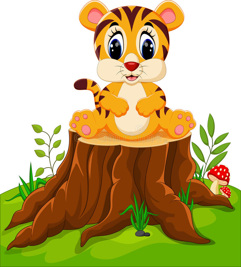 Cute baby tiger sitting. On tree stump vector illustration