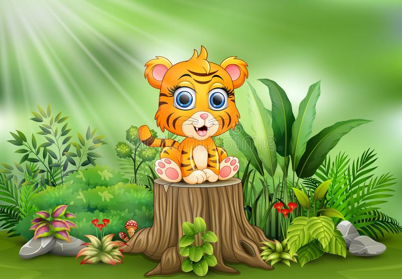 Cute baby tiger sitting on tree stump with green plants background. Illustration of Cute baby tiger sitting on tree stump with green plants background stock illustration