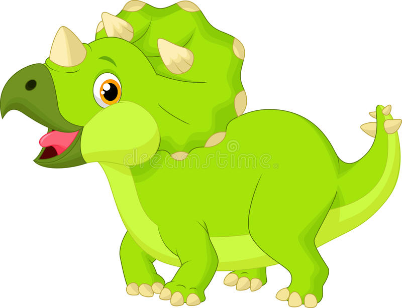 cute baby triceratops cartoon stock vector illustration