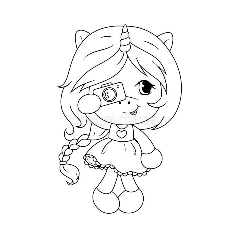 Cute baby unicorn with camera coloring page for girls. Vector. vector illustration