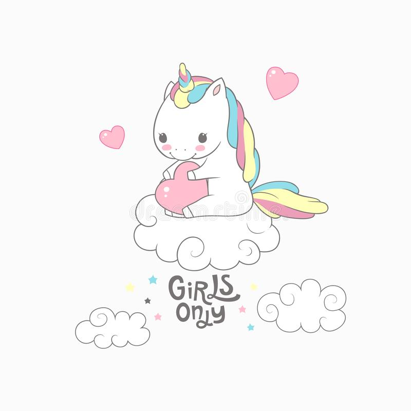 Cute Baby Unicorn Girls Only Typography Poster. Love Invitation Inspiration Sweet Poster Dream Colorful Design. Rainbow royalty free illustration