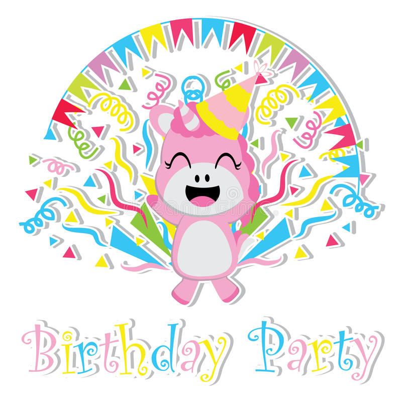 Cute baby unicorn is happy cartoon, Birthday postcard, wallpaper, and greeting card vector illustration