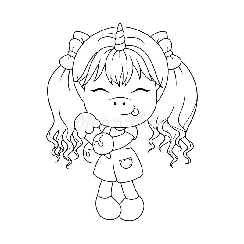 Download Cute Baby Unicorn Holding Ice Cream Coloring Page For Girls Vector Stock
