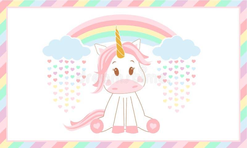 Cute baby unicorn. Vector illustration. royalty free stock image