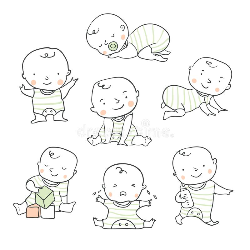 Cute baby vector illustration for baby shower royalty free illustration