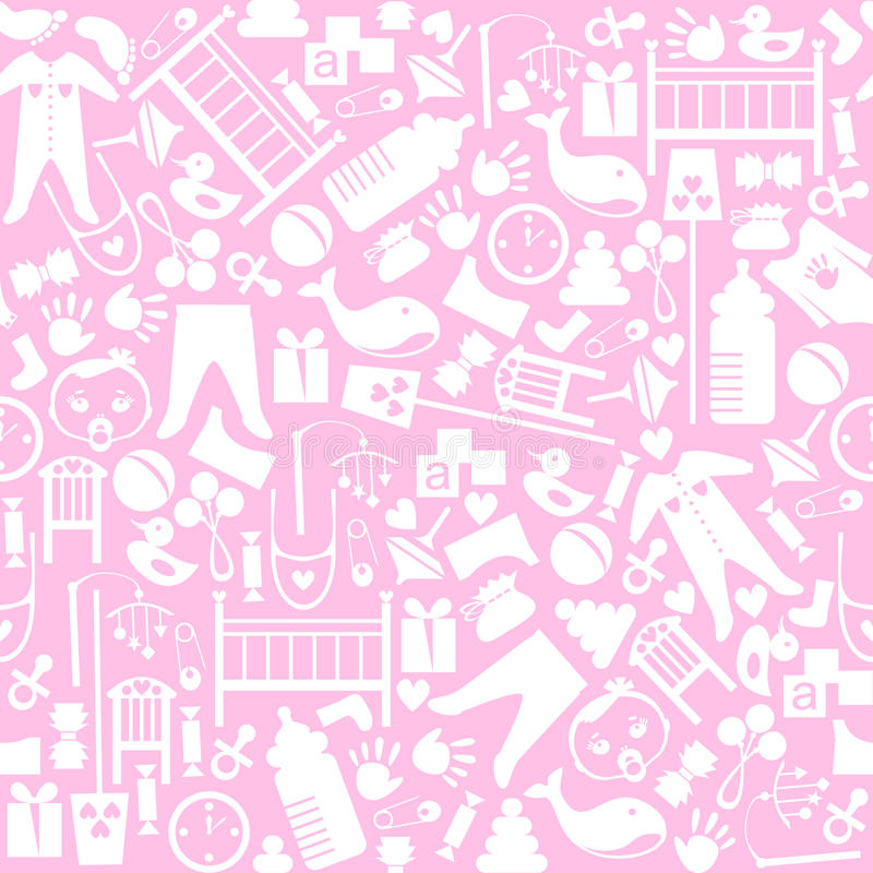 Cute baby vector seamless pattern. Endless texture. For wallpaper, fill, web page background, surface texture. Soft ornament. Pink, white shabby colors royalty free illustration
