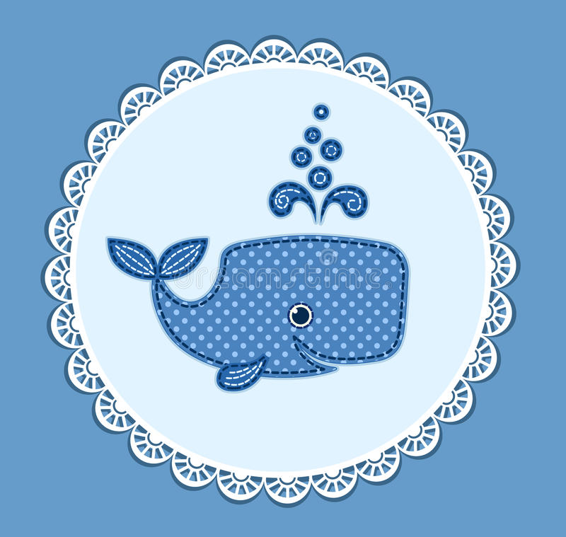 Cute baby whale on the blue vector illustration