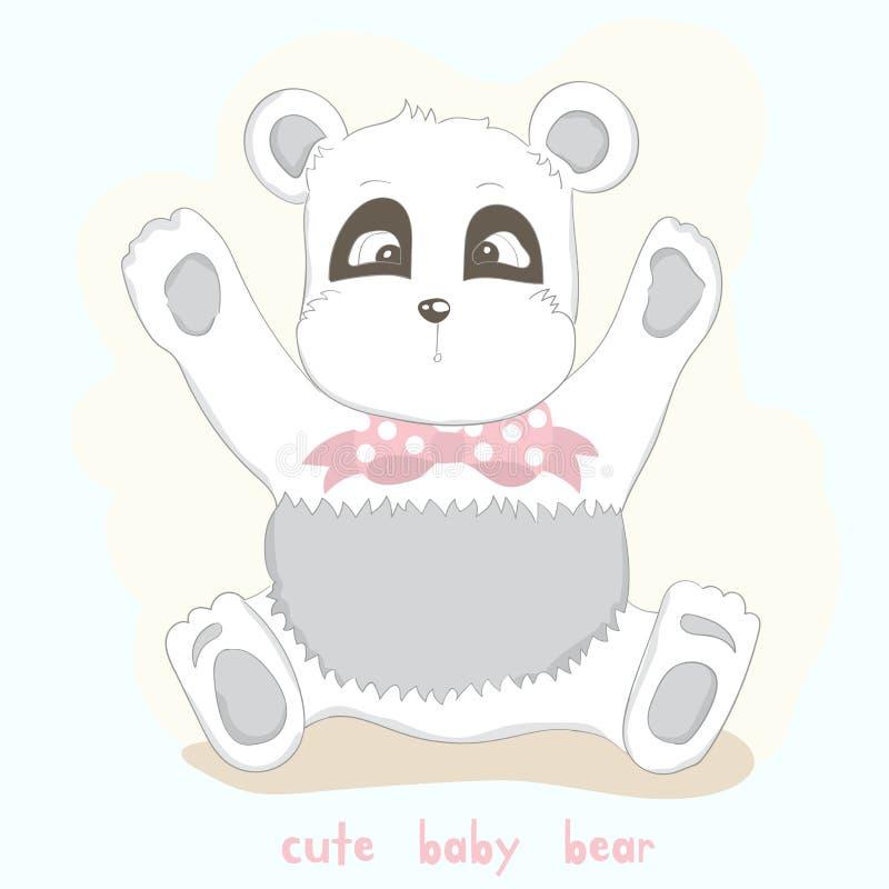 The cute baby white bear. Hand drawn cartoon style.  royalty free illustration