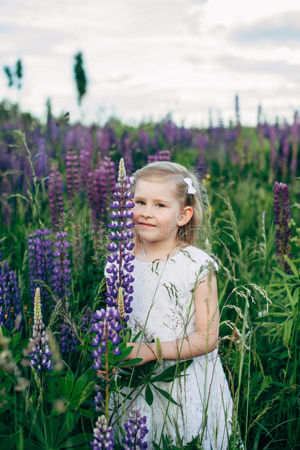 Cute Baby In White Dress In Lupine Field Stock Photo Image Of