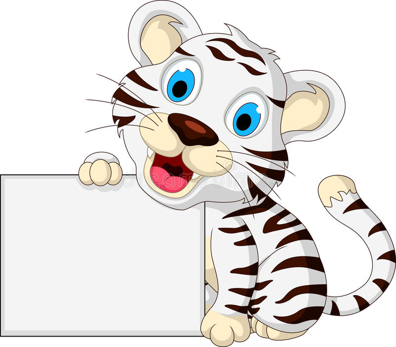 Cute baby white tiger posing with blank sign vector illustration