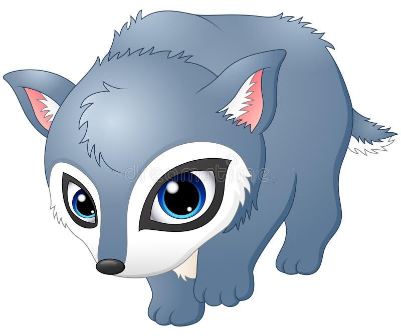 Cute baby wolf walking royalty free illustration