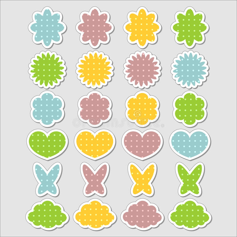 Cute Babyish Stickers Set Royalty Free Stock Photography