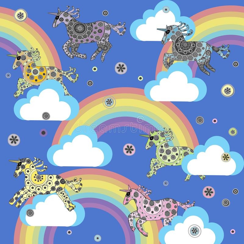 Cute background with cartoon unicorns in the clouds vector illustration