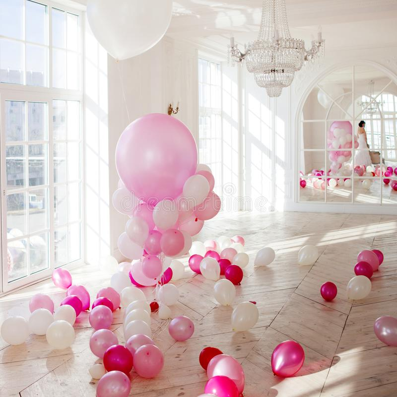 Cute Background, The Classic Room With Pink Balloons Stock Image ...