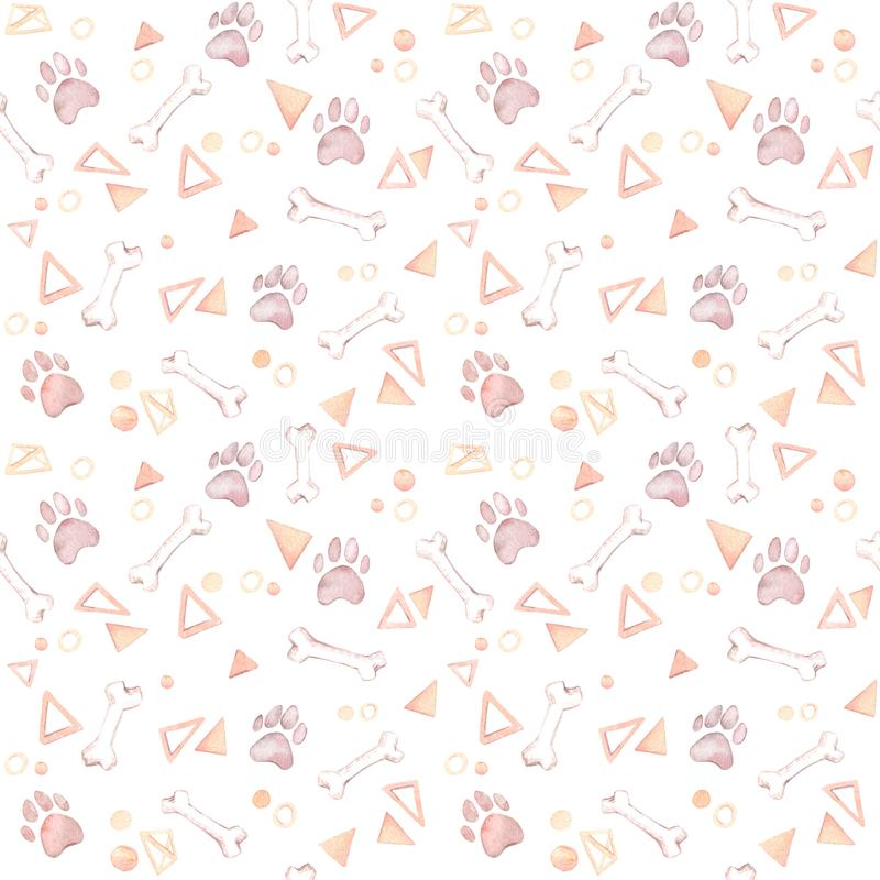 Cute background. Hand drawn watercolor seamless pattern - dog pa vector illustration
