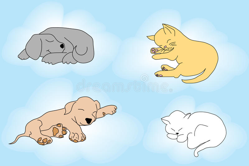 Cute background with sleepy cats and dogs stock illustration