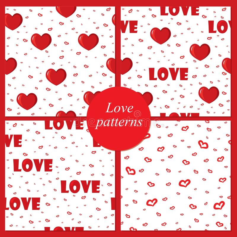 Cute backgrounds with love and hearts for Valentine's Day, seamless patterns vector illustration