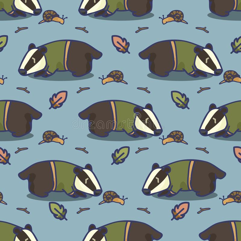 Cute badger cartoon seamless vector pattern. Hand drawn forest wildlife tile royalty free illustration