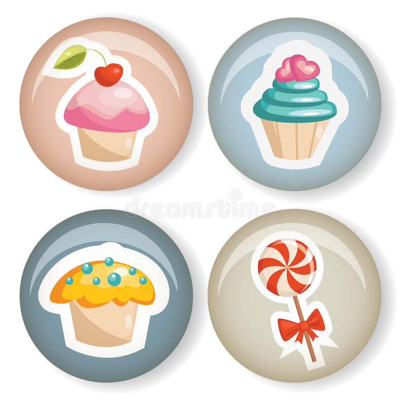 Download Cute badges stock illustration. Image of icon, cupcake - 23276373