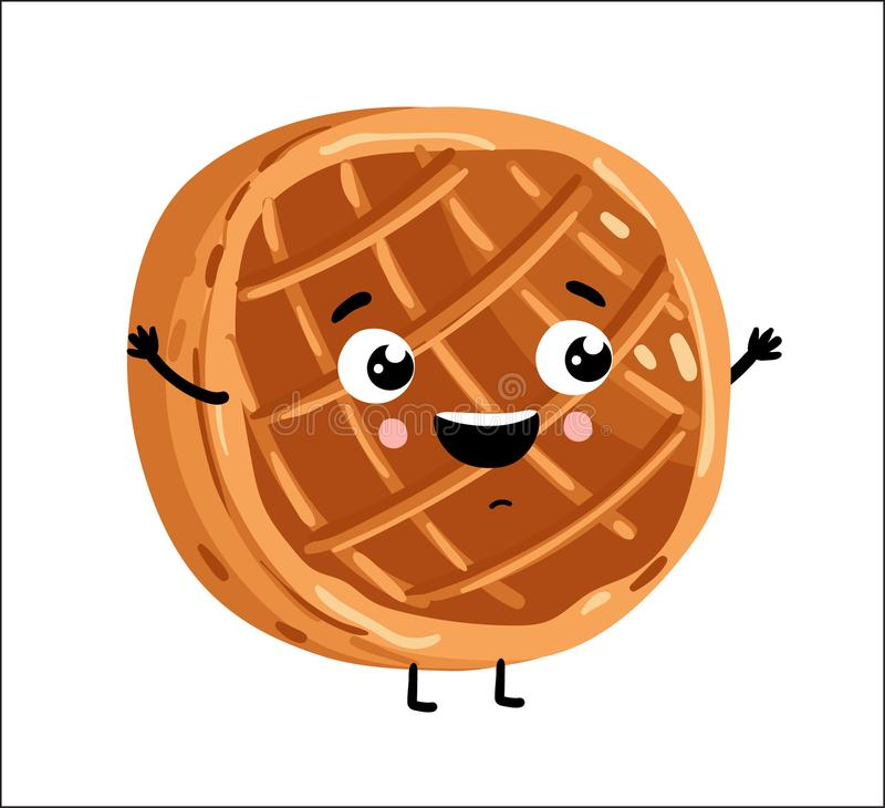 Funny baked pie isolated cartoon character. Cute baked pie cartoon character isolated on white background vector illustration. Funny positive and friendly bakery vector illustration