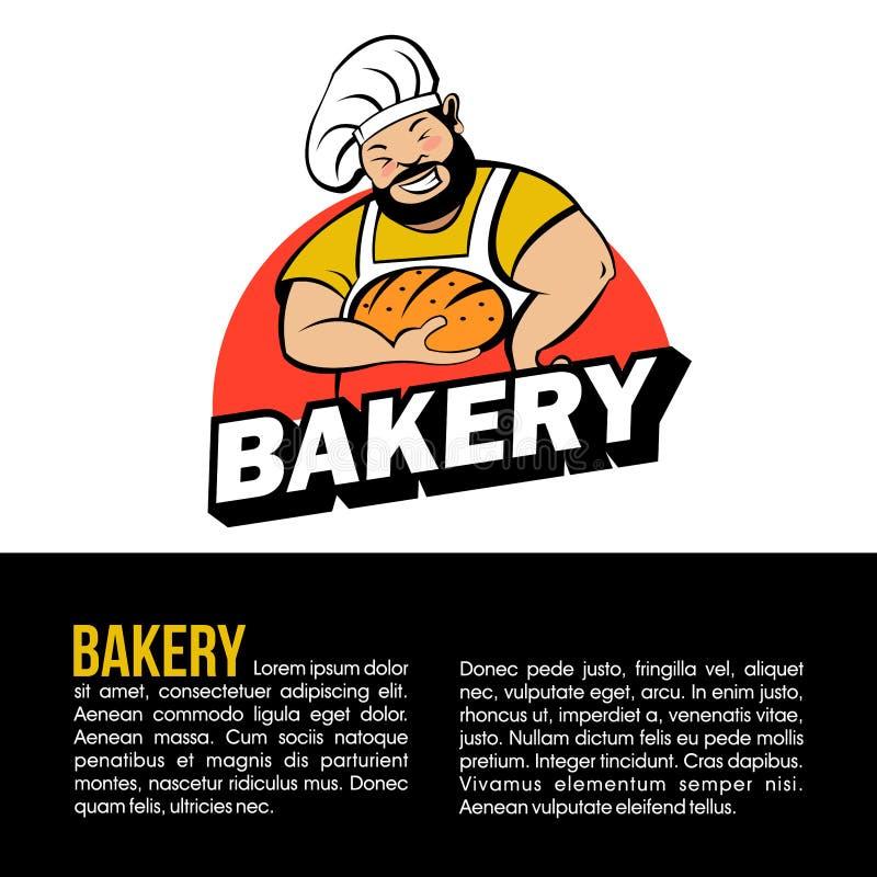 Cute Baker with freshly baked bread. Vector logo. A cute Baker with a beard holds freshly baked bread. Bakery vector logo royalty free illustration