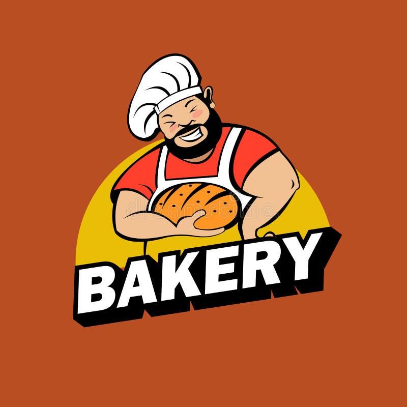 Cute Baker with freshly baked bread. Vector logo. A cute Baker with a beard holds freshly baked bread. Bakery vector logo stock illustration