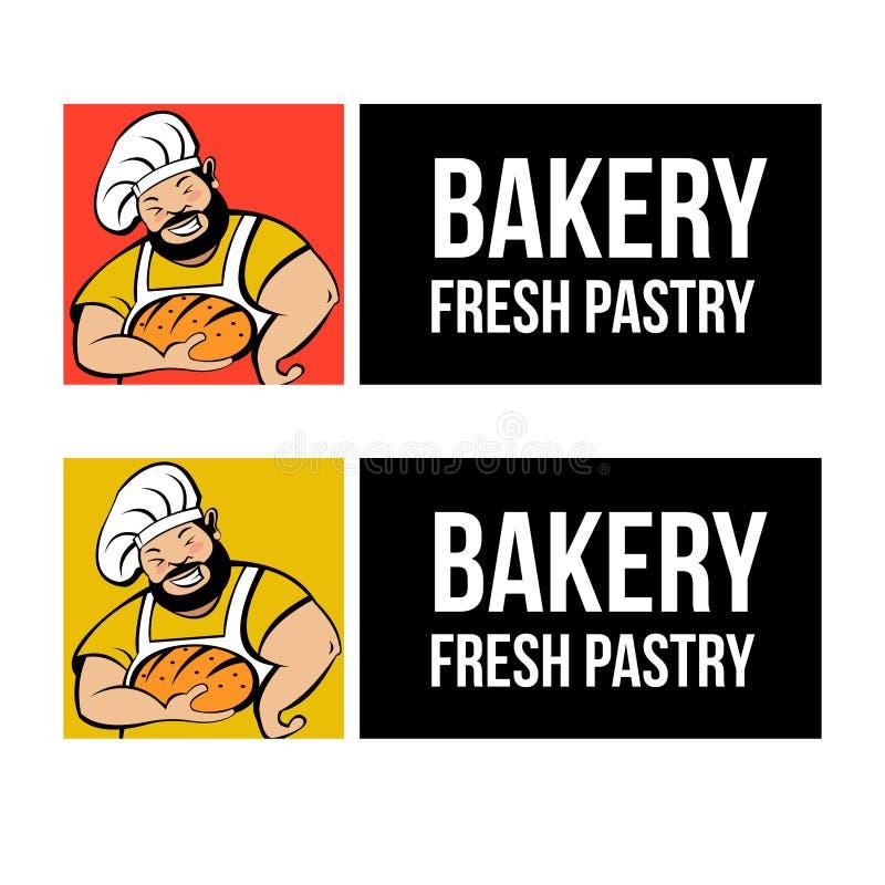 Cute Baker with freshly baked bread. Vector logo. A cute Baker with a beard holds freshly baked bread. Bakery vector logo vector illustration
