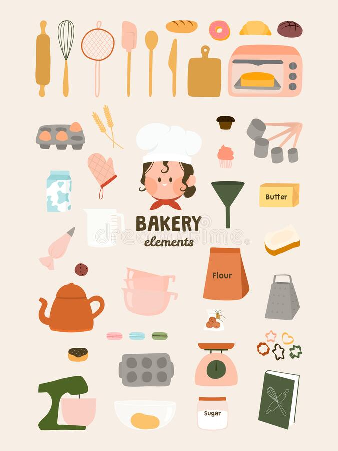 Free Cute Bakery Elements Flat Vector Graphic Illustration. Baking Art Print. Baking Ingredients And Tools, Dessert And Pastry Dishes Stock Images - 193417394
