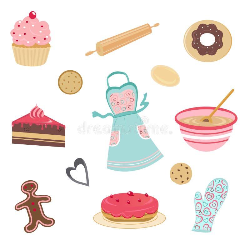 Cute bakery and kitchen set stock illustration