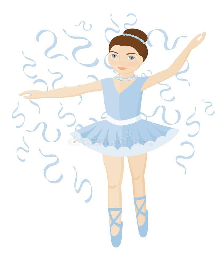 Cute ballerina girl in blue dress vector illustration