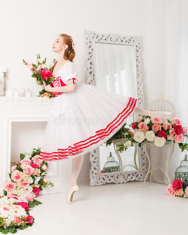 Cute Ballerina Holding Flowers Stock Image - Image of girl, dancer ...