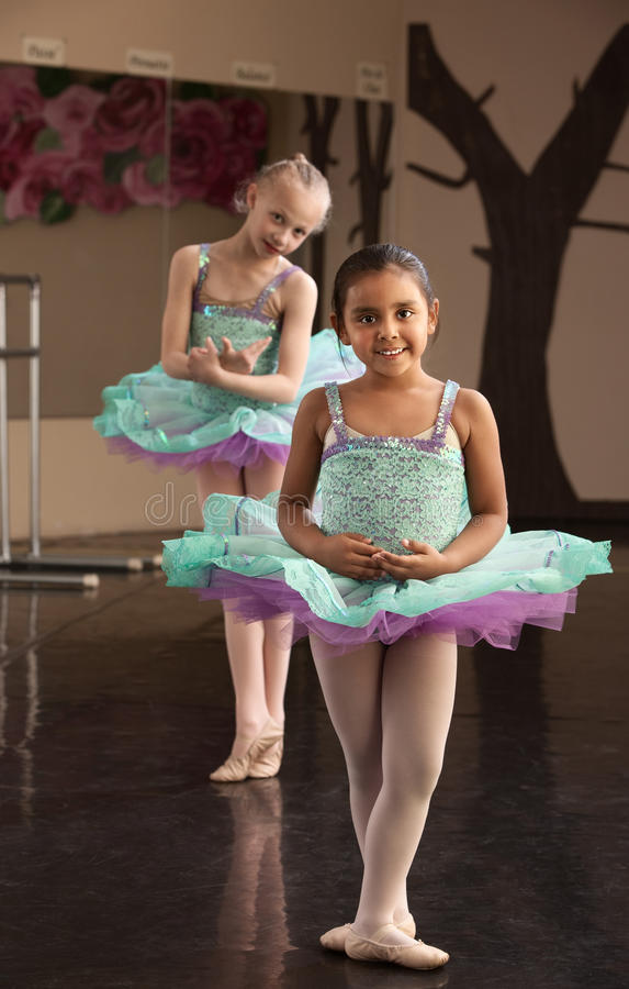 Download Cute Ballerinas Rehearsing stock photo. Image of blue - 25437320
