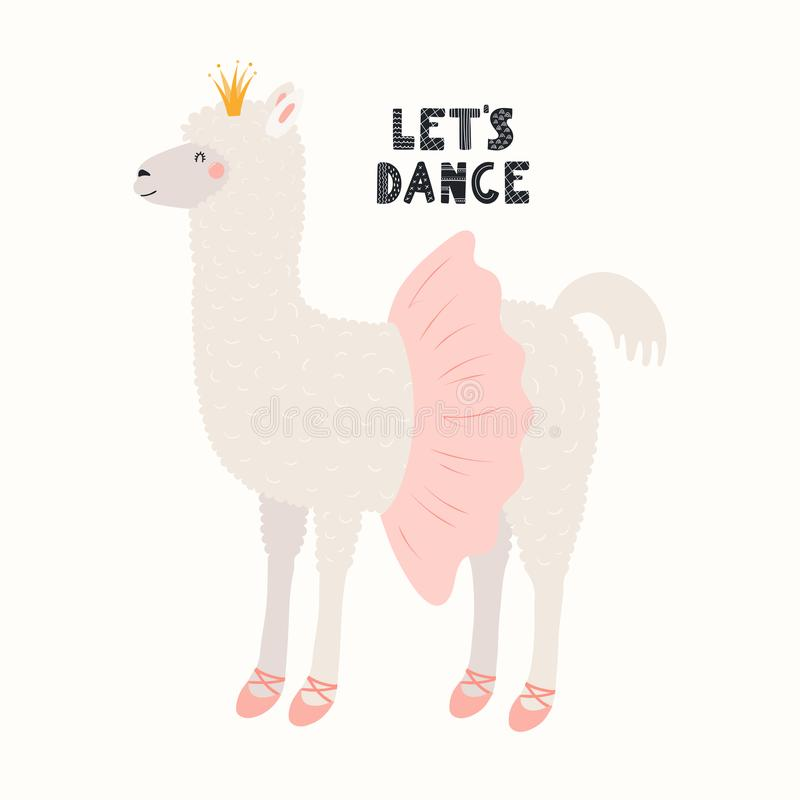 Cute ballet llama royalty free illustration