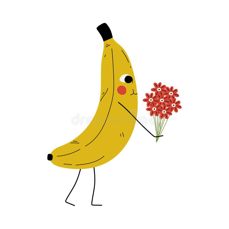 Cute Banana Standing with Bouquet of Flowers, Cheerful Fruit Character with Funny Face Vector Illustration. In Cartoon Style vector illustration