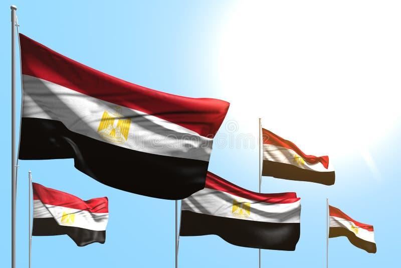 Cute 5 banderas de Egipto están ondeadas sobre fondo azul del cielo - cualquier bandera de fiesta 3d ilustración ilustración del vector
