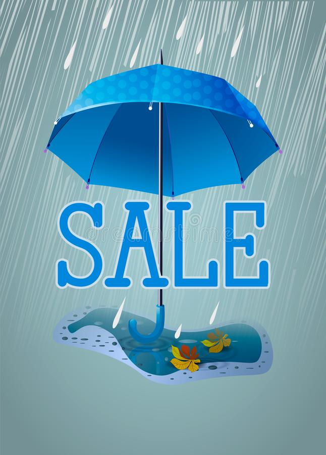 Cute banner or card for sale. Blue umbrella in the rain and with a puddle with autumn leaves. Vertical illustration. Cute banner or card for sale. Blue umbrella vector illustration