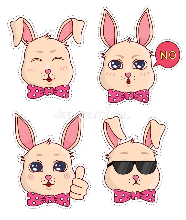 Cute banny badges and stickers. Part 1 royalty free stock photography